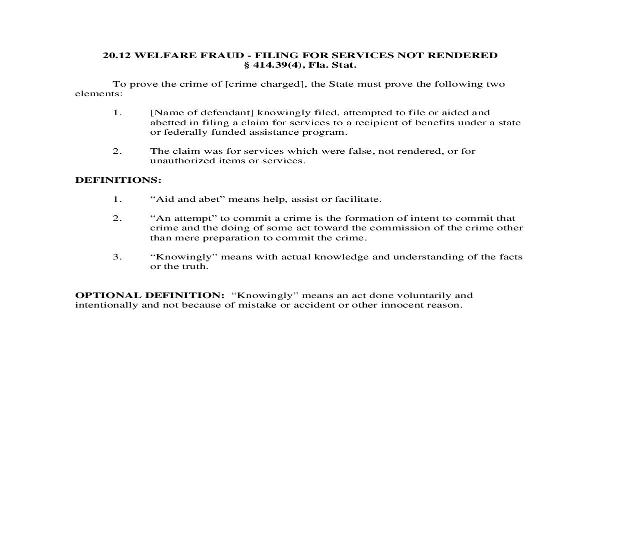 20.12. Welfare Fraud - Filing For Services Not Rendered | Pdf Doc Docx | Florida_JI