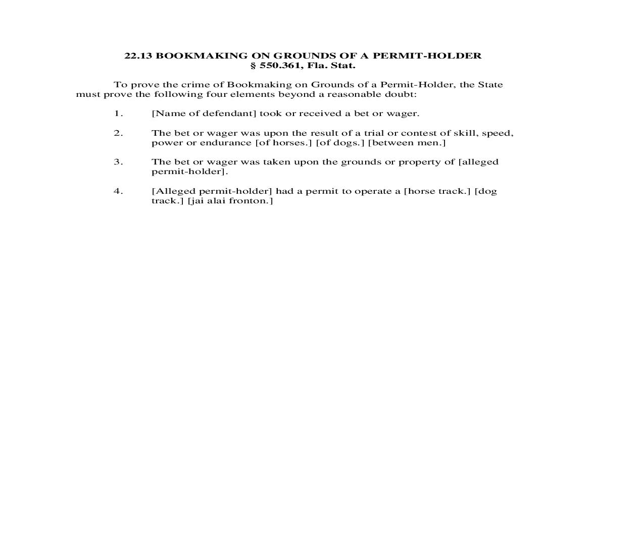 22.13. Bookmaking On Grounds Of A Permit-Holder   Pdf Doc Docx   Florida_JI