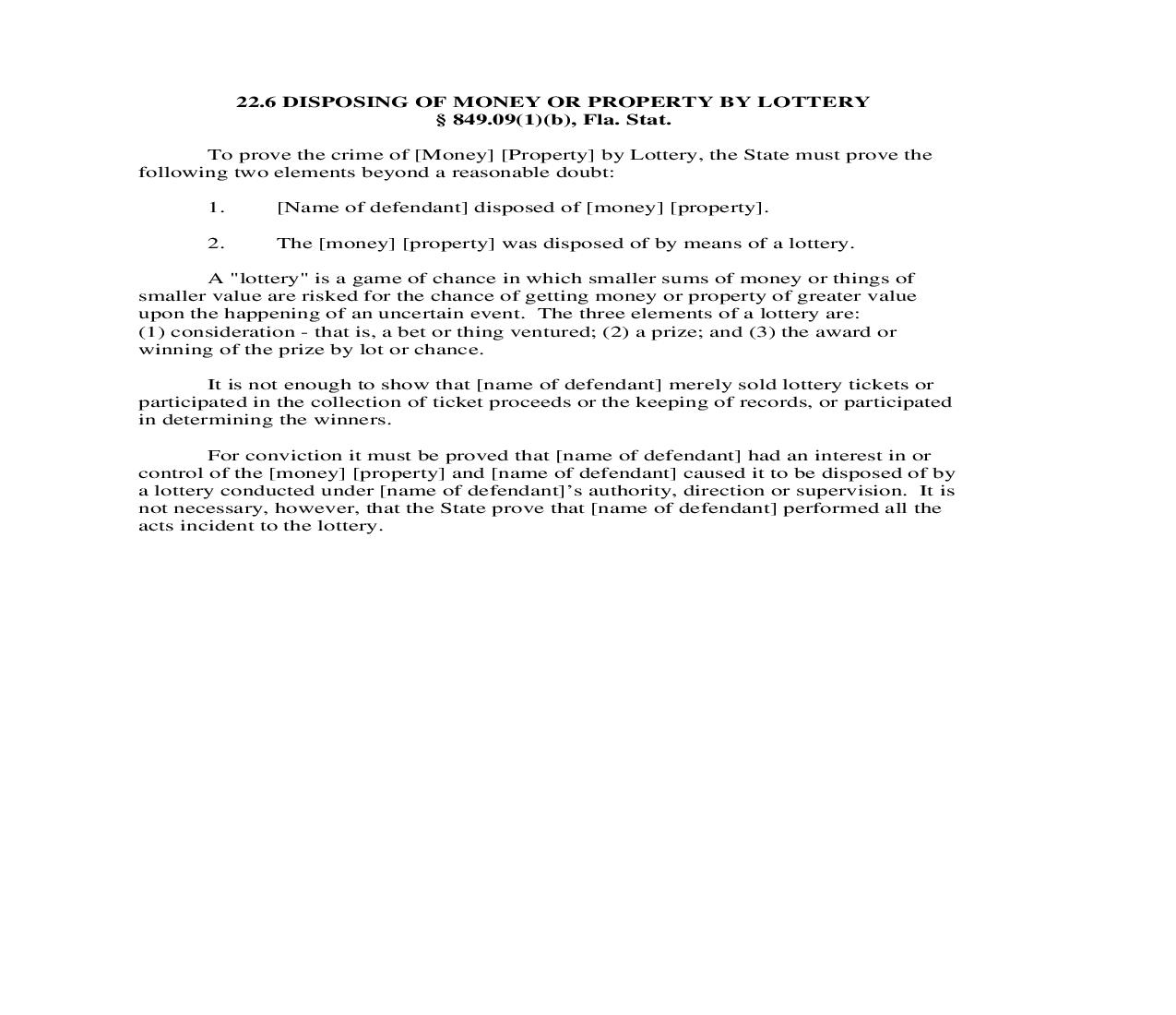 22.6. Disposing Of Money Or Property By Lottery | Pdf Doc Docx | Florida_JI