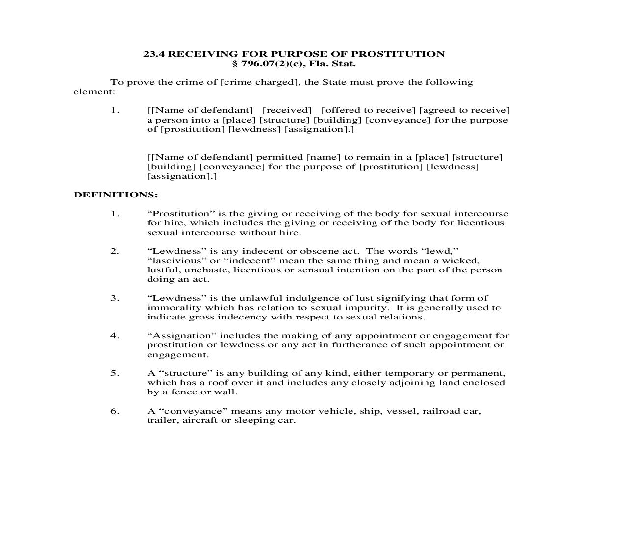 23.4. Receiving For Purpose Of Prostitution | Pdf Doc Docx | Florida_JI