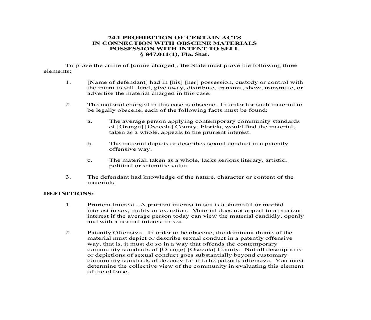 24.1. Prohibition Of Certain Acts In Connection With Obscene Materials Possession With Intent To Sell | Pdf Doc Docx | Florida_JI