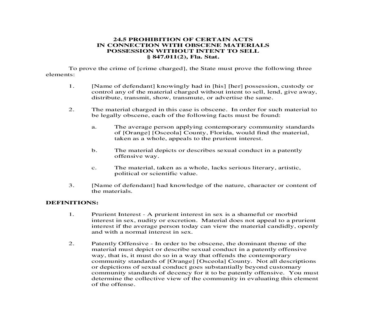 24.5. Prohibition Of Certain Acts In Connection With Obscene Materials Possession Without Intent To Sell | Pdf Doc Docx | Florida_JI