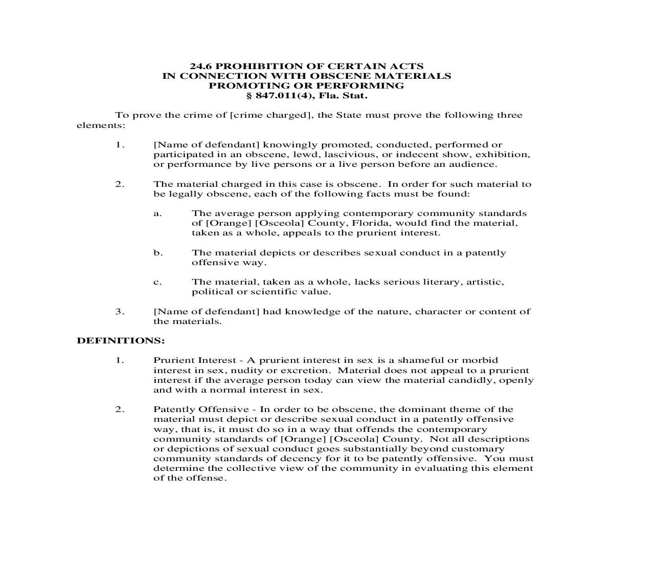 24.6. Prohibition Of Certain Acts In Connection With Obscene Materials Promoting Or Performing | Pdf Doc Docx | Florida_JI