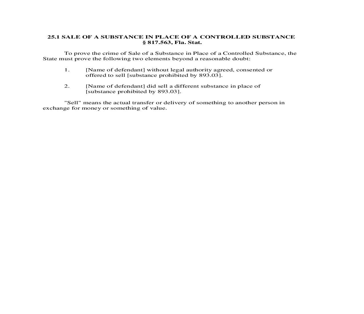 25.1. Sale Of A Substance In Place Of A Controlled Substance | Pdf Doc Docx | Florida_JI