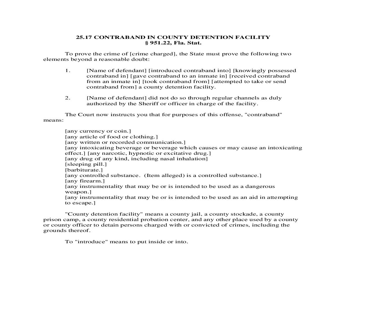 25.17. Contraband In County Detention Facility | Pdf Doc Docx | Florida_JI