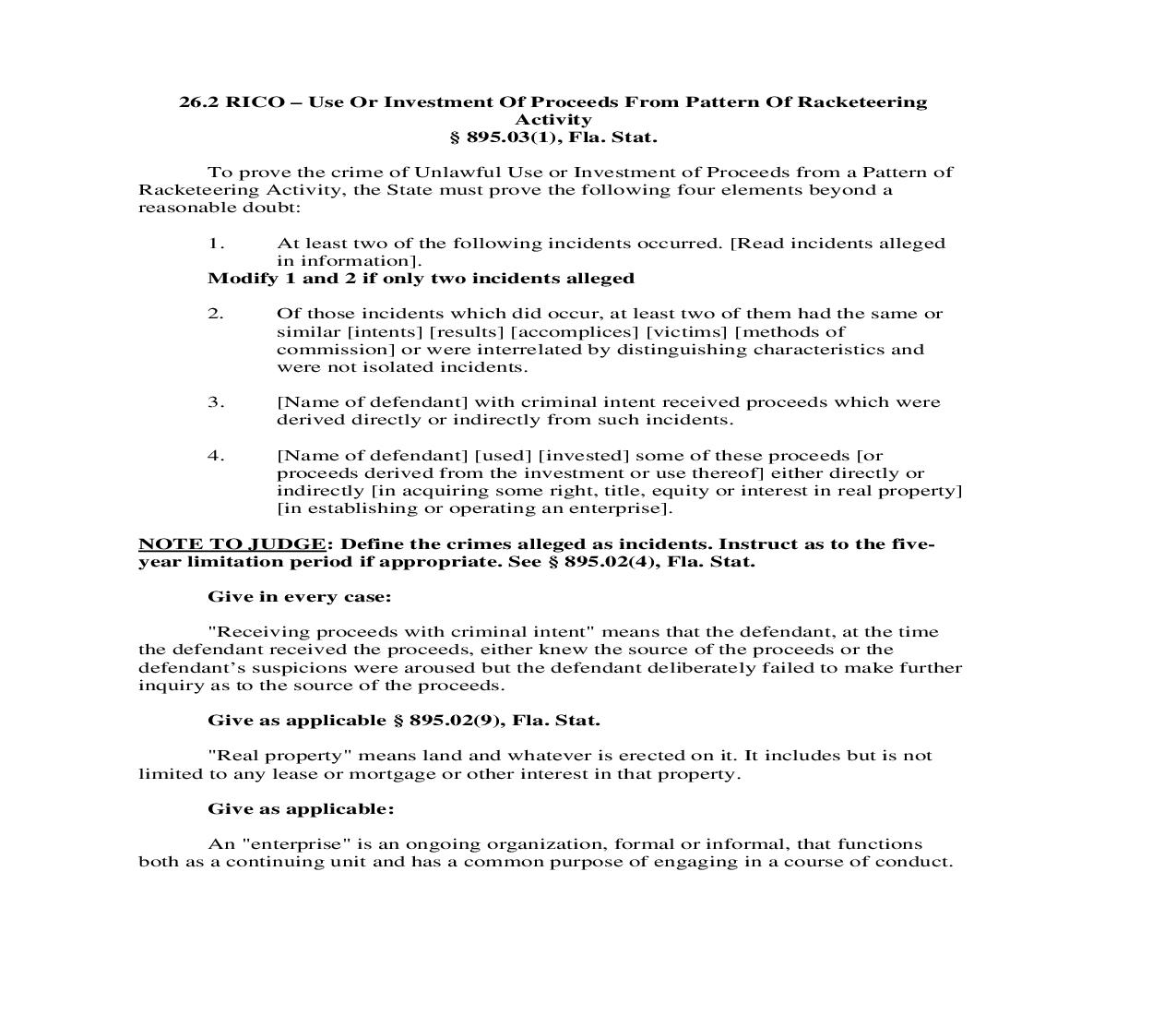 26.2. RICO - Use Or Investment Of Proceeds From Pattern Of Racketeering Activity | Pdf Doc Docx | Florida_JI