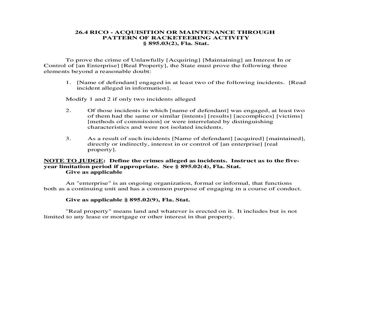 26.4. RICO - Acquisition Or Maintenance Through Pattern Of Racketeering Activity | Pdf Doc Docx | Florida_JI