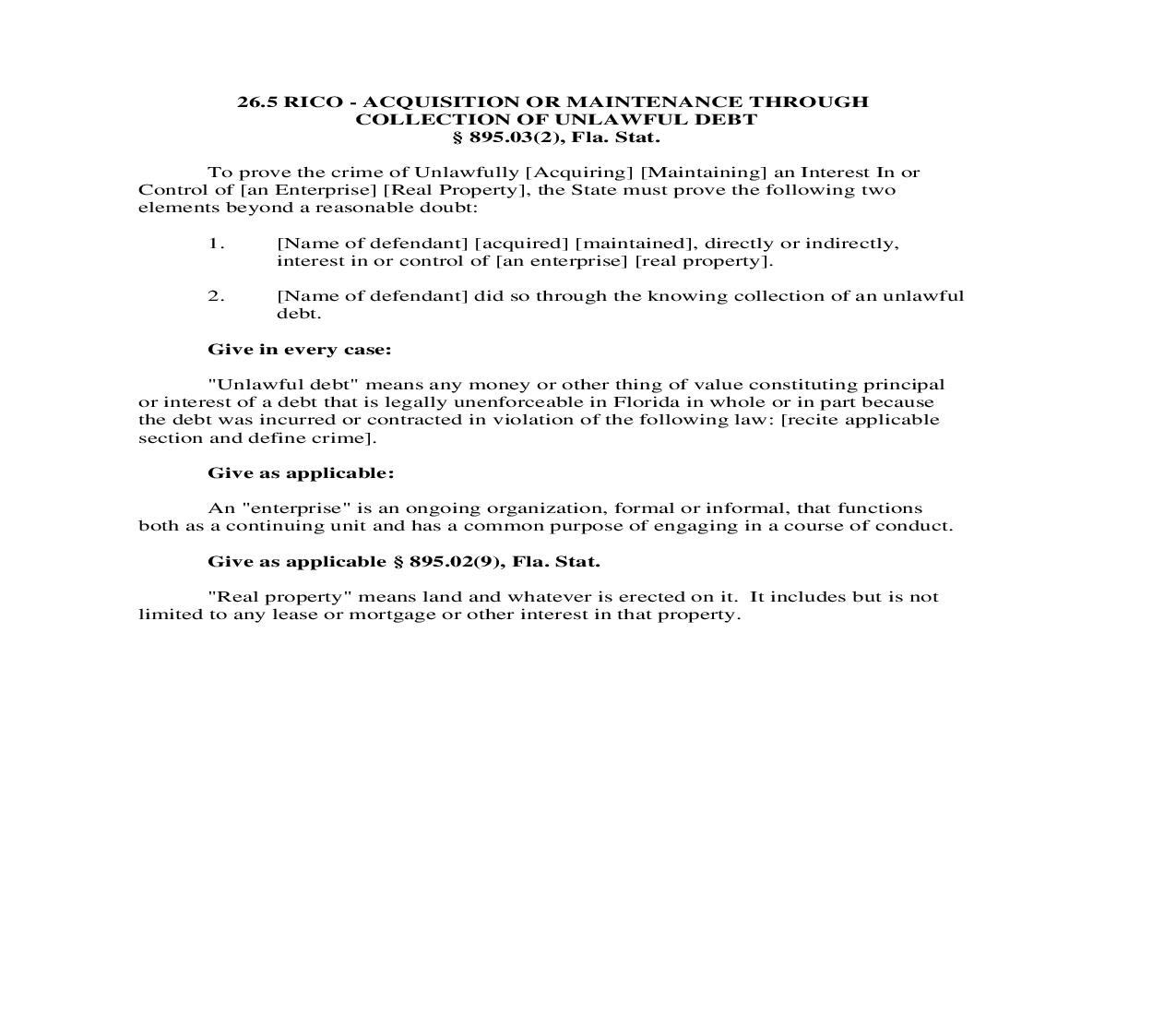 26.5. RICO - Acquisition Or Maintenance Through Collection Of Unlawful Debt | Pdf Doc Docx | Florida_JI