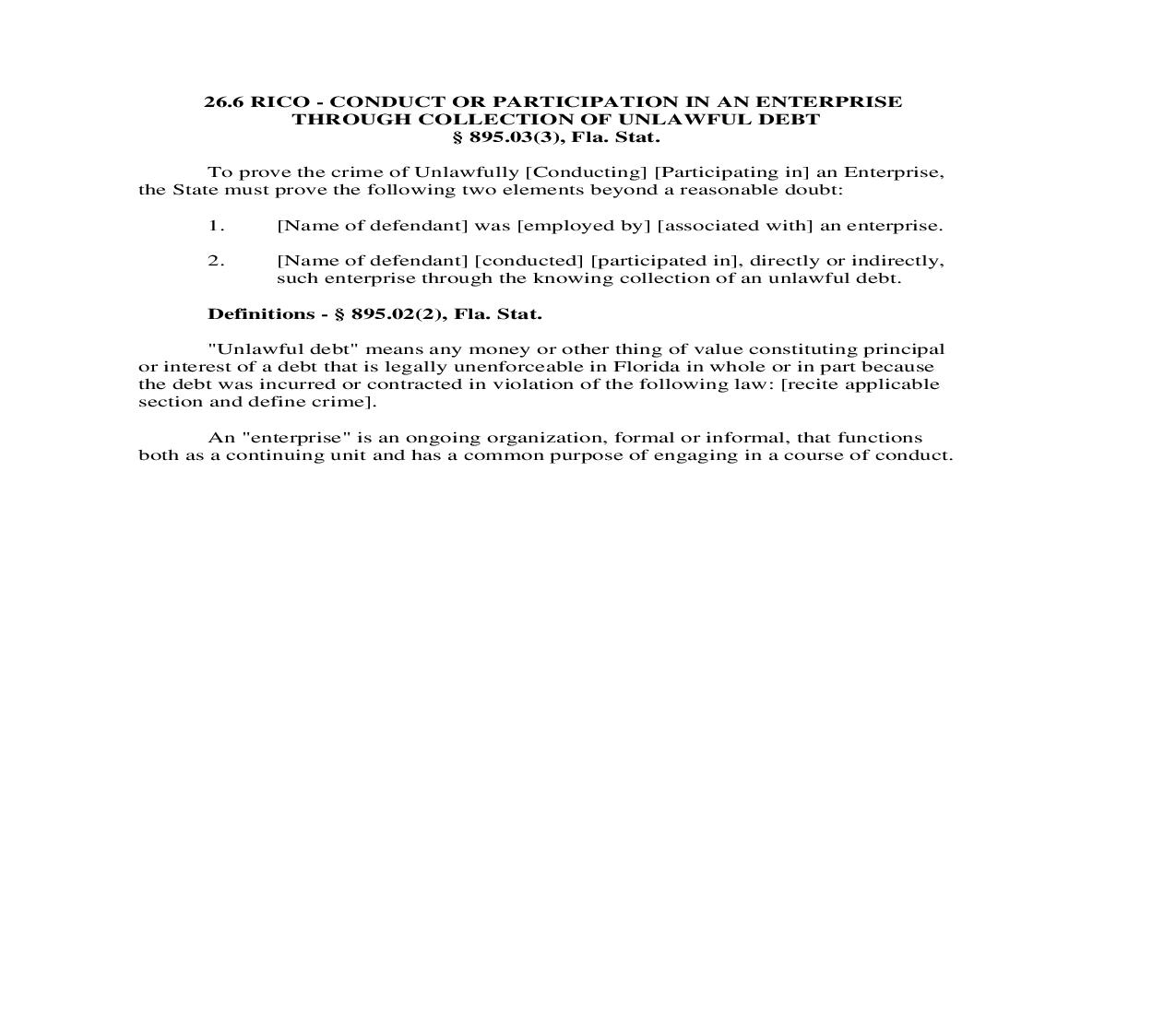 26.6. RICO - Conduct Or Participation In An Enterprise Through Collection Of Unlawful Debt | Pdf Doc Docx | Florida_JI