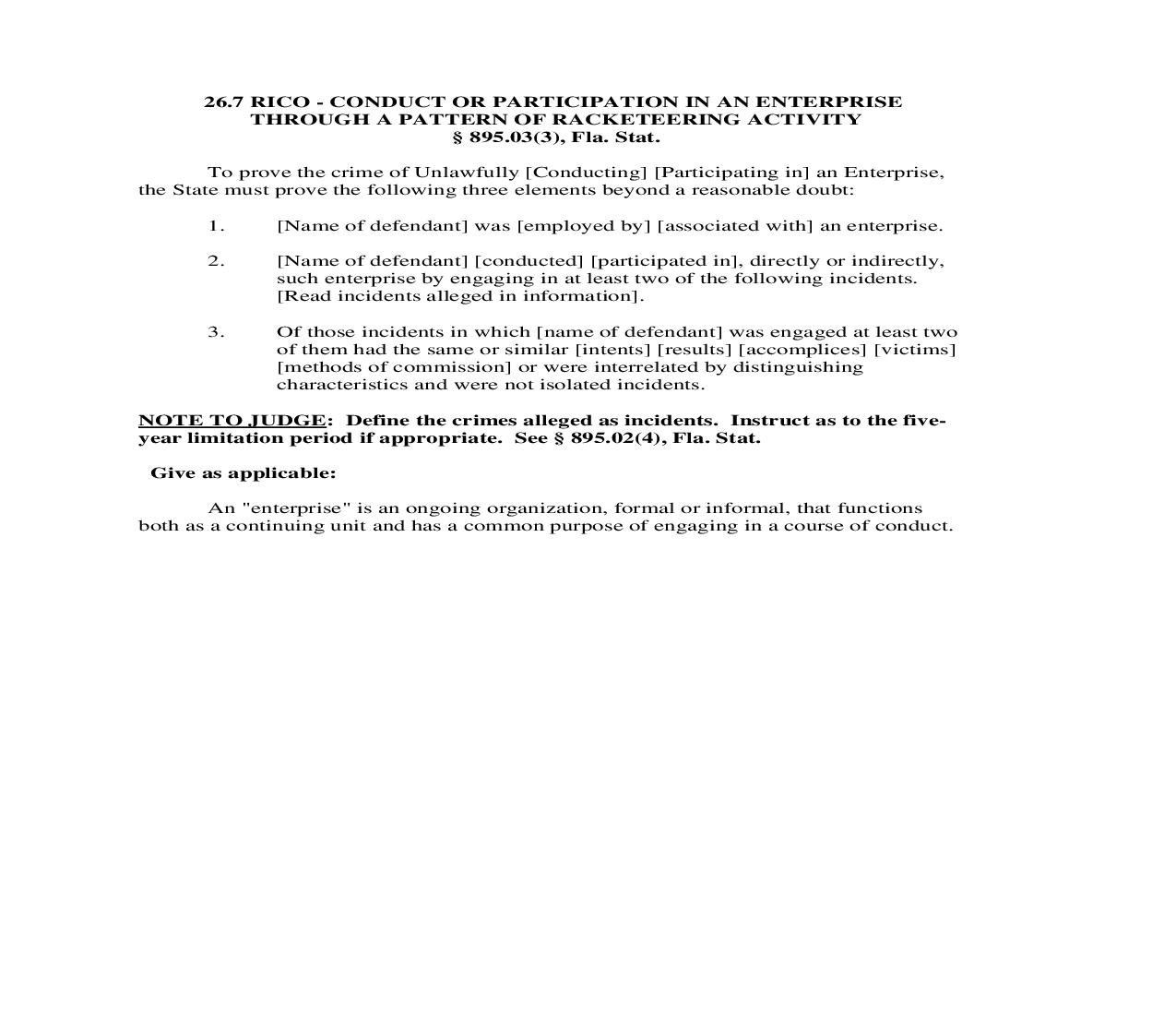 26.7. RICO - Conduct Or Participation In An Enterprise Through A Pattern Of Racketeering Activity | Pdf Doc Docx | Florida_JI
