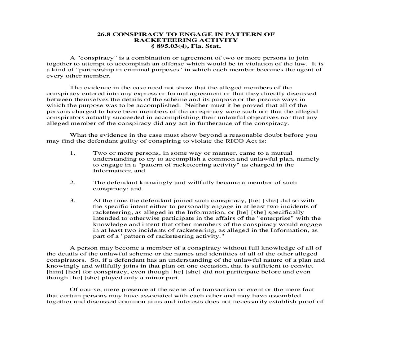 26.8. Conspiracy To Engage In Pattern Of Racketeering Activity | Pdf Doc Docx | Florida_JI