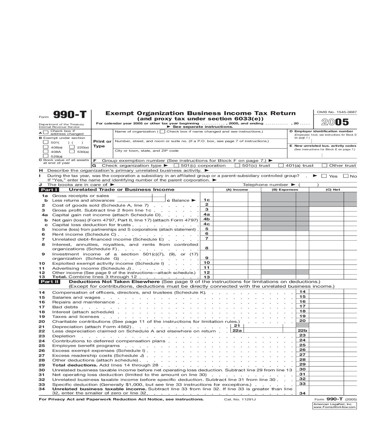 2005 Form 990-T Exempt Organization Business Tax Return (And Proxy Tax Under Section 6033(e)) {990-T} | Pdf Doc Docx | Foley