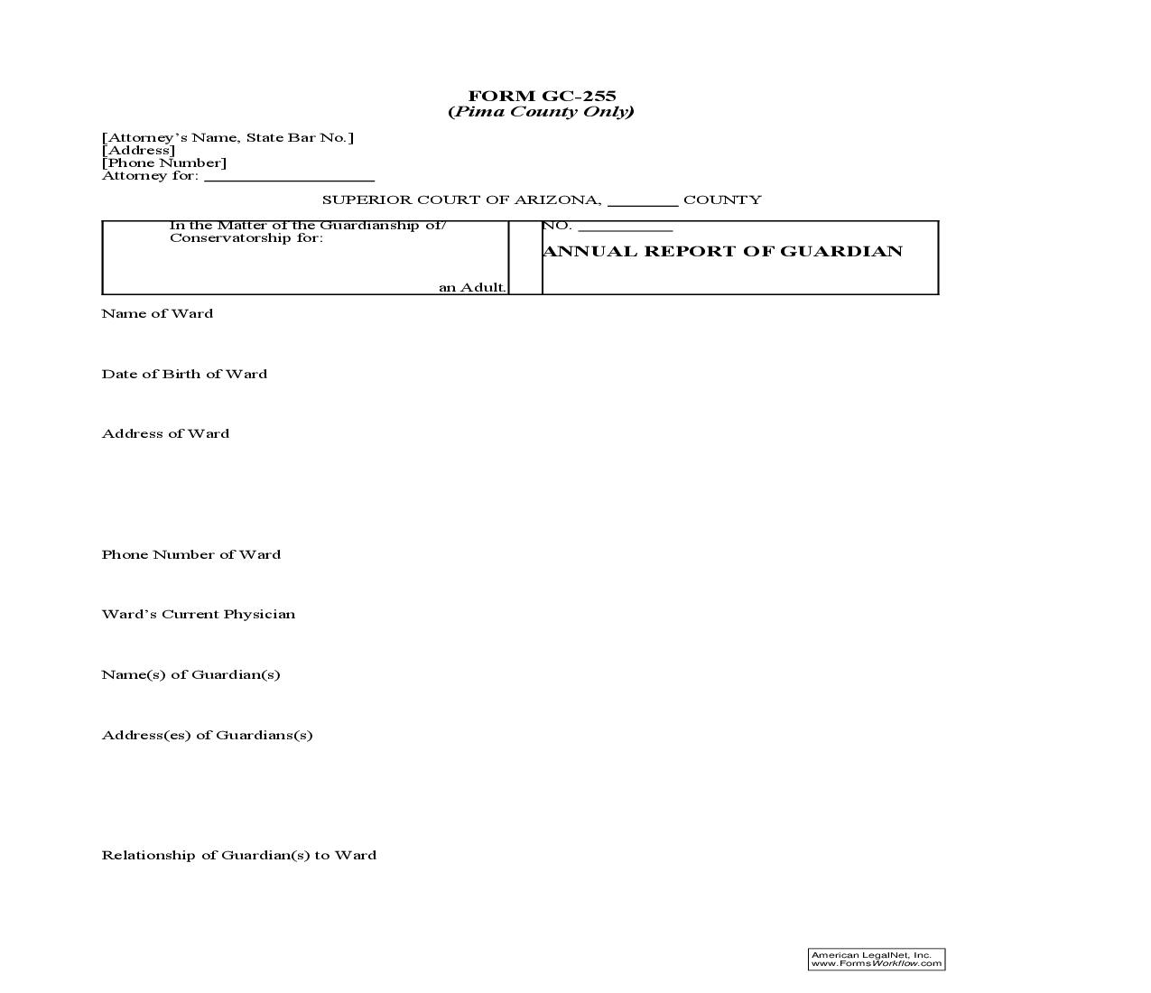 Annual Report Of Guardian (Adult) (Pima County Only) {GC-255}   Pdf Doc Docx   GTLaw