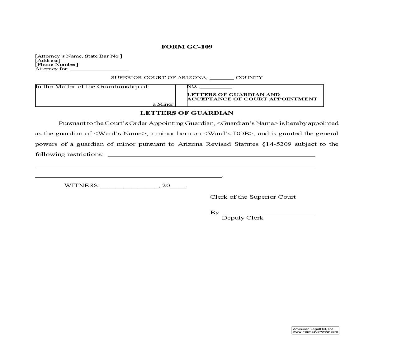Letters Of Guardian And Acceptance Of Court Appointment (Minor) {GC-109} | Pdf Doc Docx | GTLaw