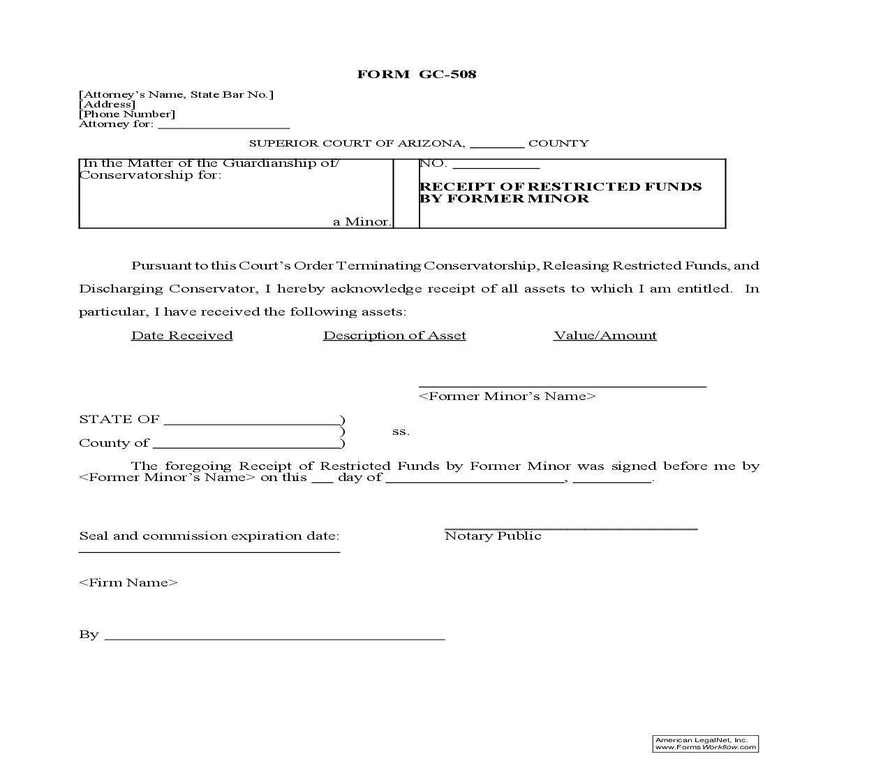 Receipt Of Restricted Funds By Former Minor {GC-508} | Pdf Doc Docx | GTLaw