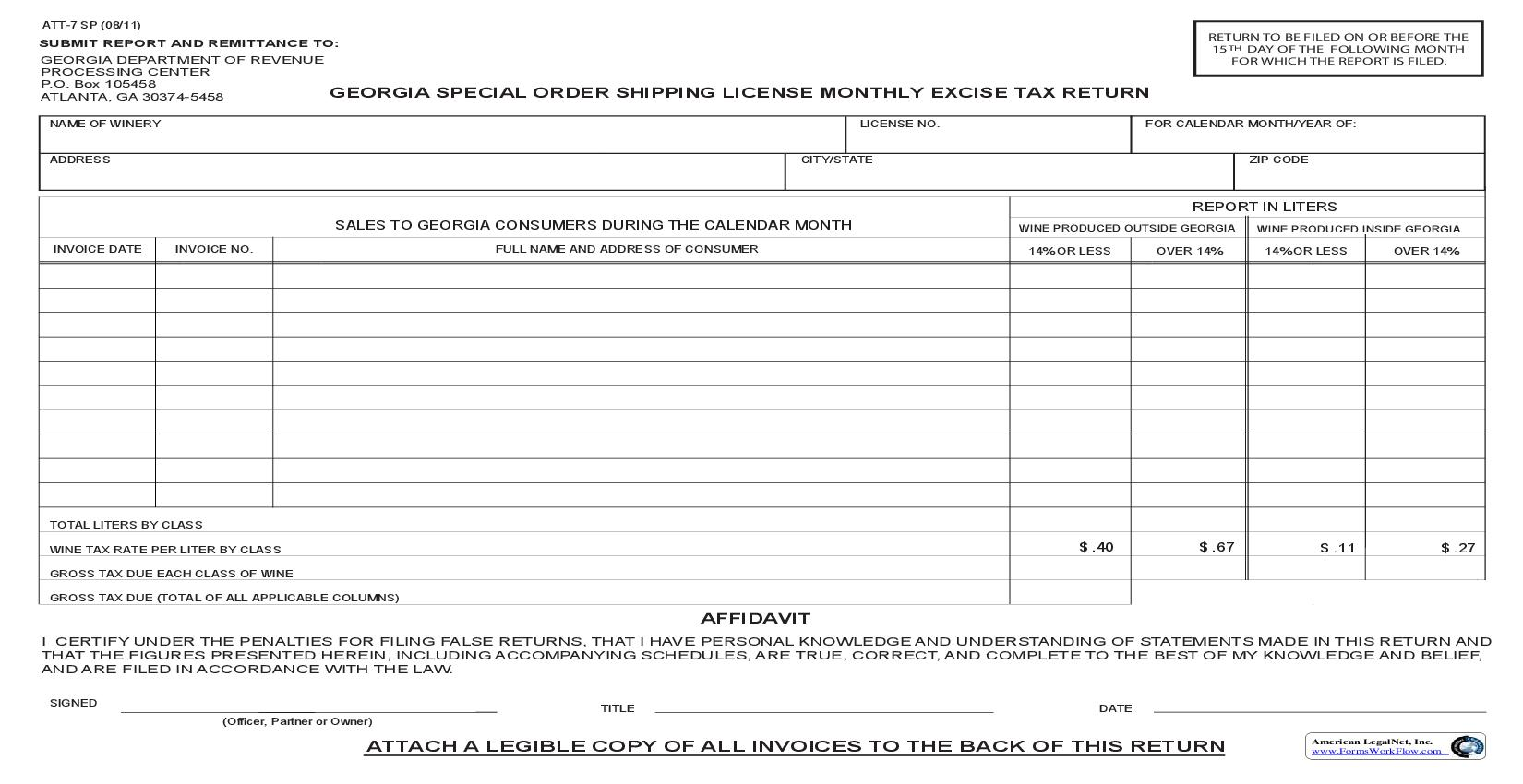 Georgia Special Order Shipping License Monthly Excise Tax Return {ATT-7SP} | Pdf Fpdf Doc Docx | Georgia