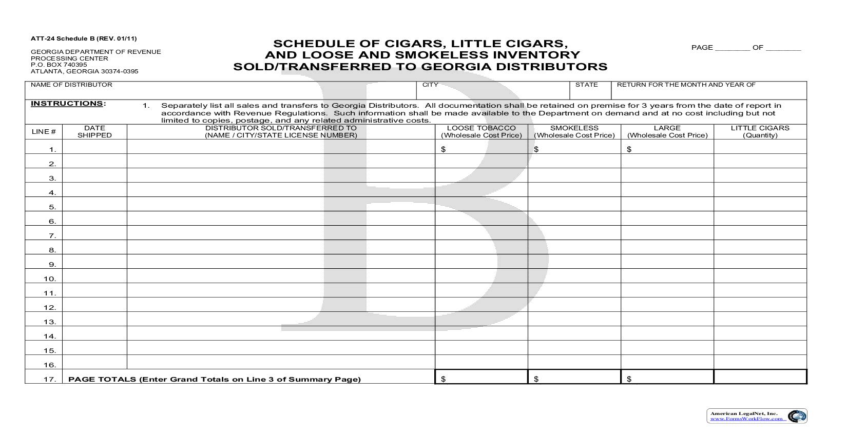 Schedule Of Loose And Smokeless Inventory Sold To GA Distributors {ATT-24-SCHEDULE B}   Pdf Fpdf Doc Docx   Georgia