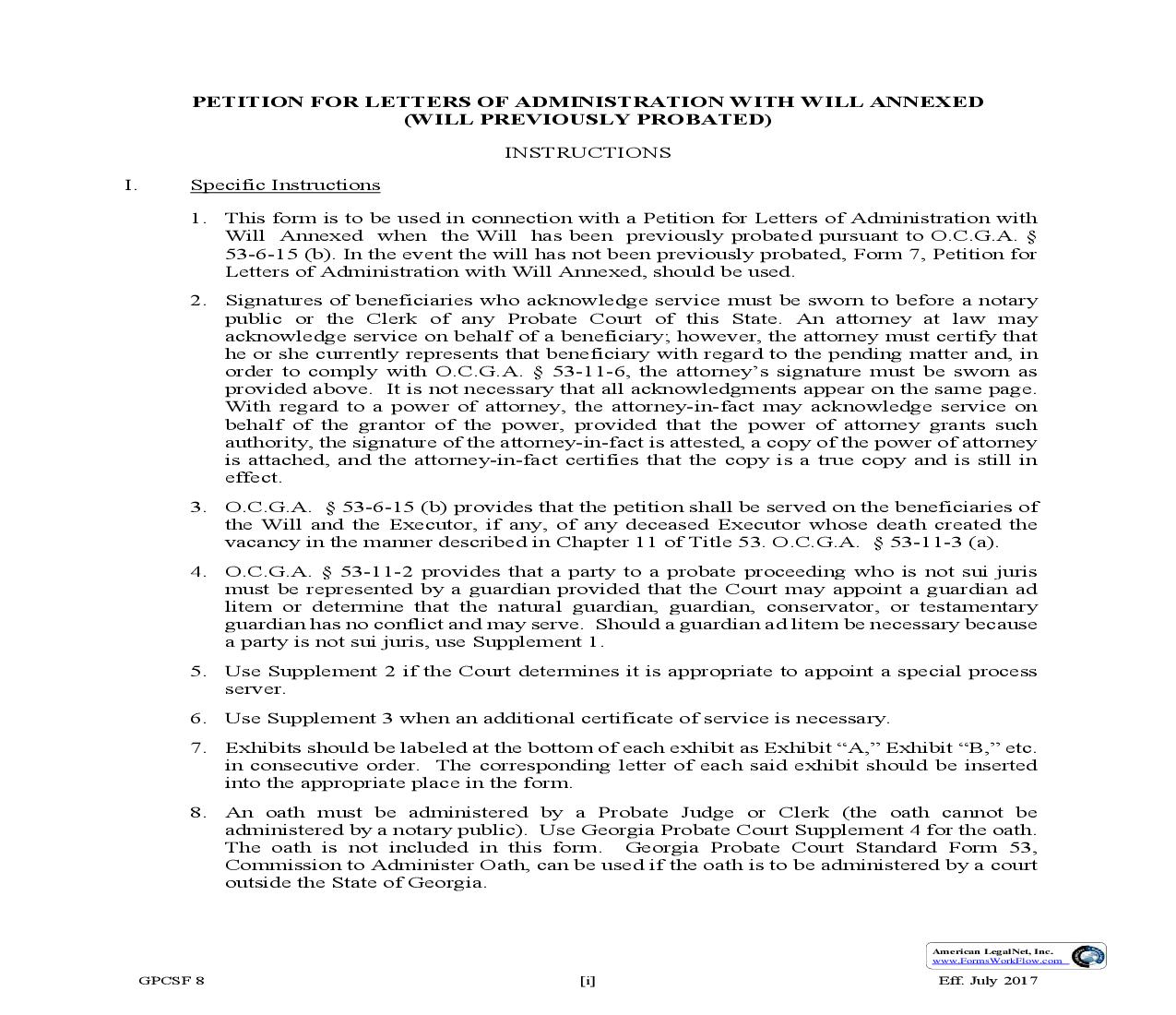 Petition For Letters Of Administration With Will Annexed Will Previously Probated {GPCSF 8}   Pdf Fpdf Doc Docx   Georgia