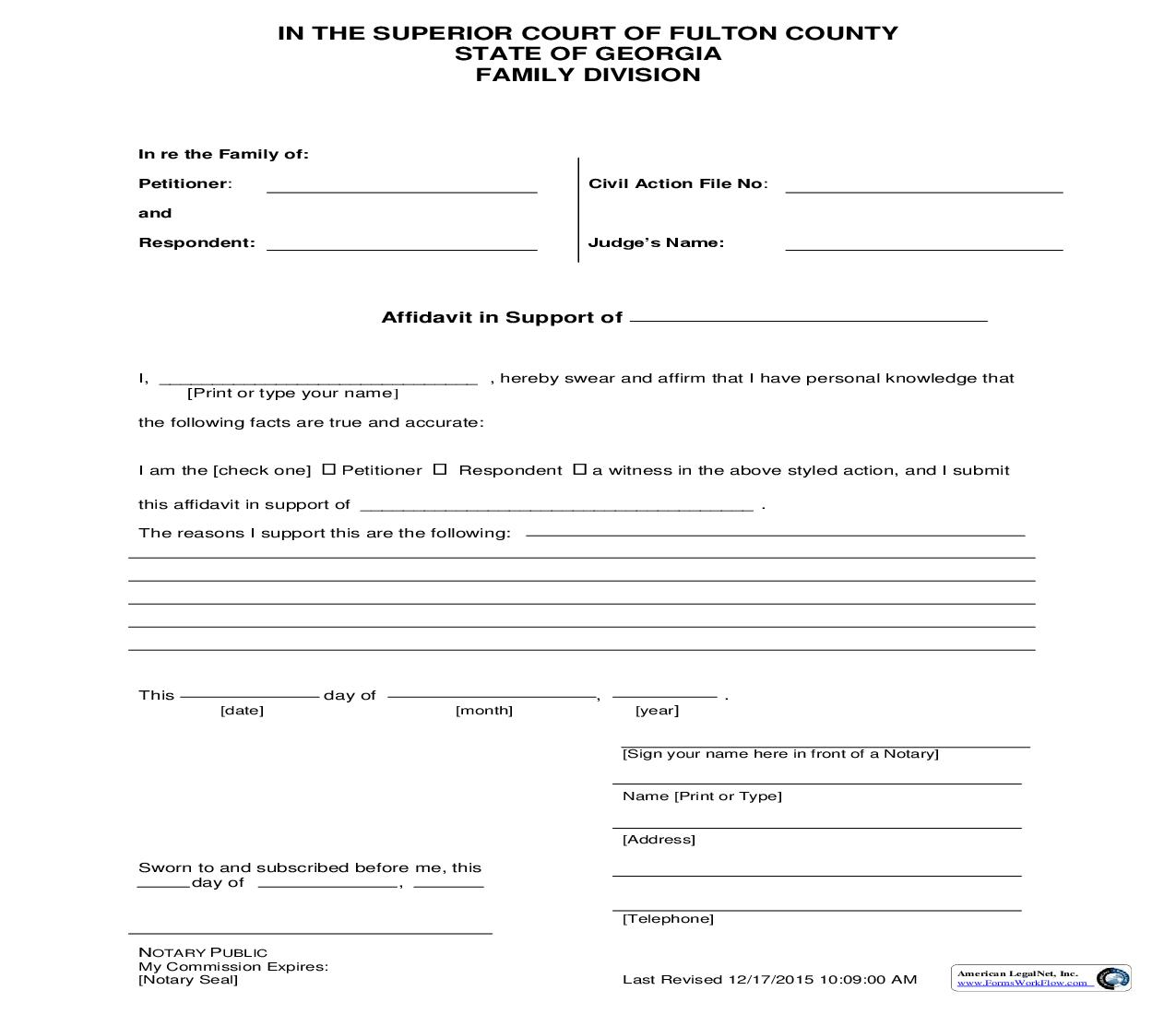 Affidavit In Support Of | Pdf Fpdf Doc Docx | Georgia