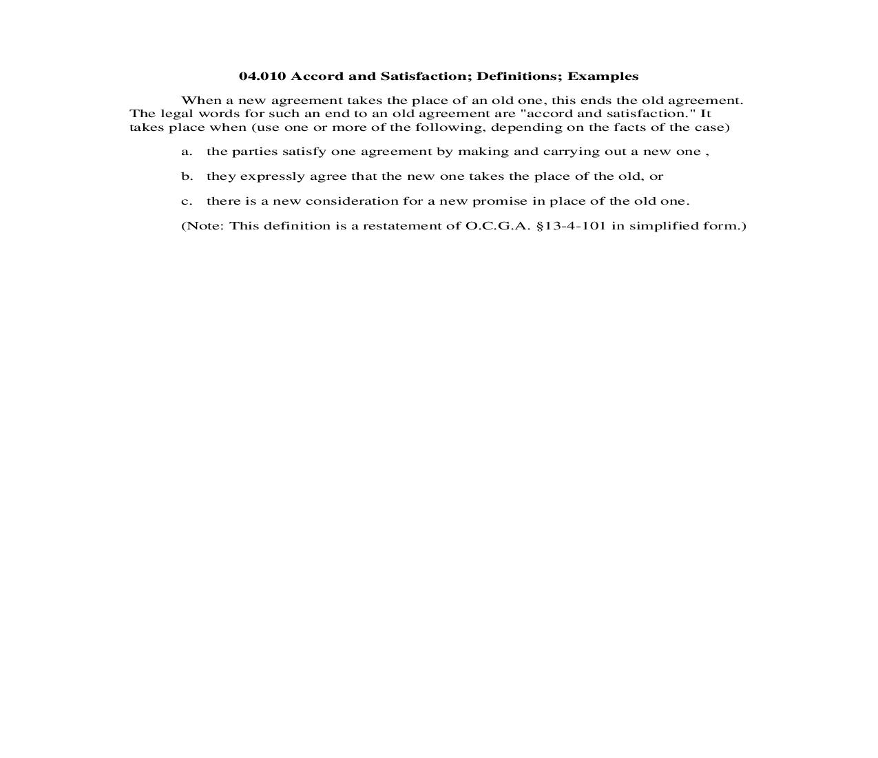 04.010 Accord and Satisfaction; Definitions; Examples | Pdf Doc Docx | Georgia_JI