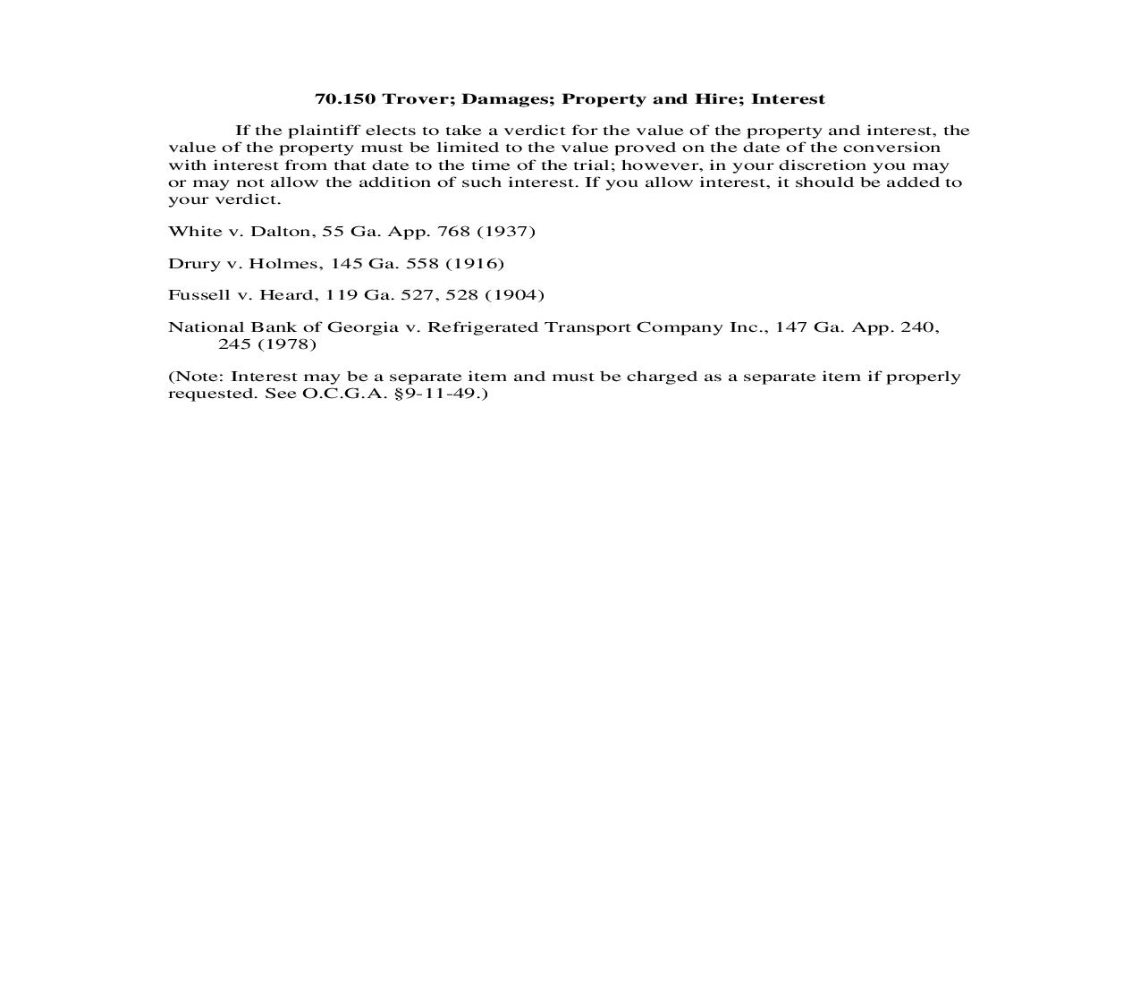 70.150 Trover; Damages; Property and Hire; Interest | Pdf Doc Docx | Georgia_JI