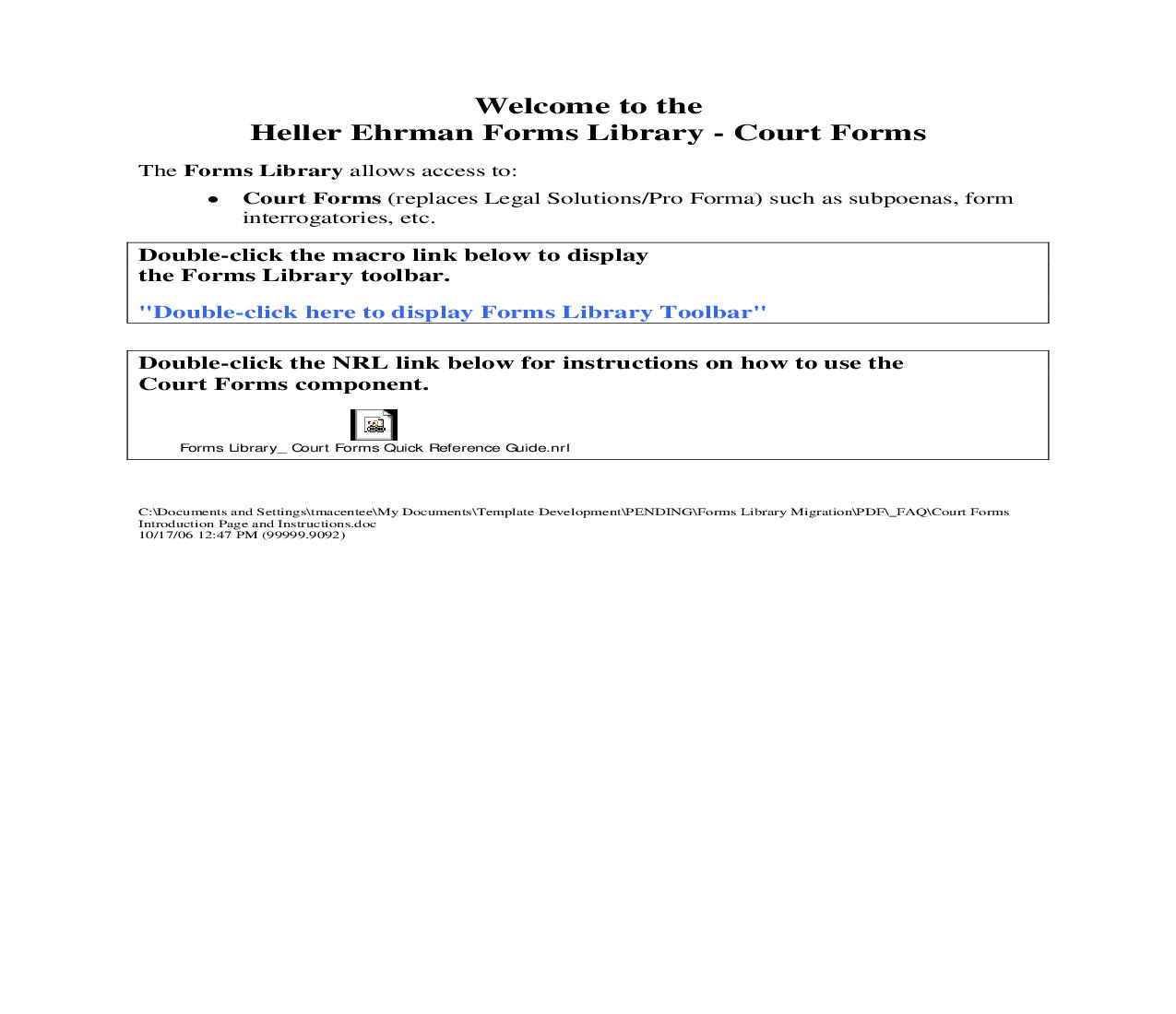 Court Forms Introduction Page and Instructions | Pdf Doc Docx | Heller Ehrman