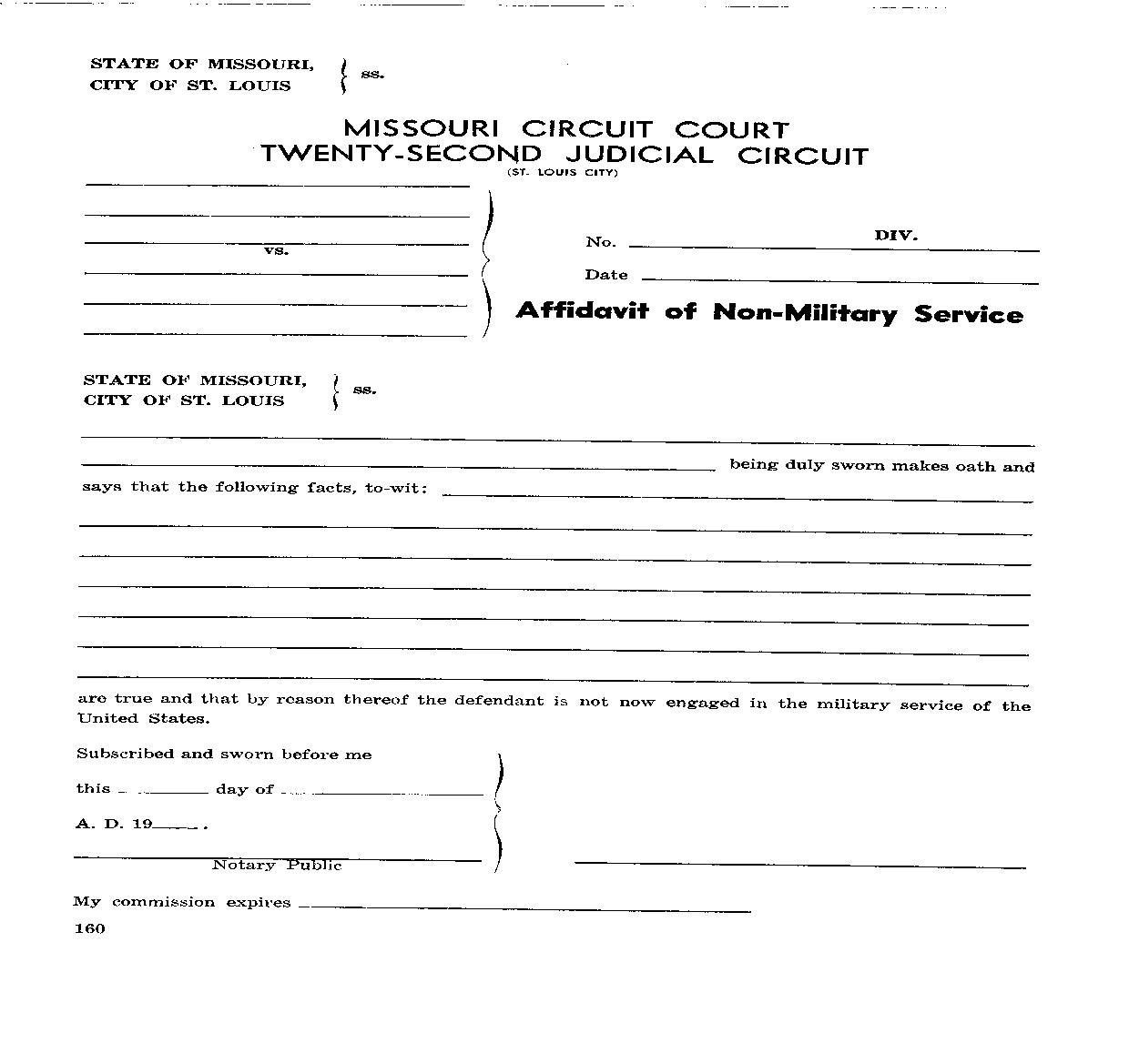 Affidavit Of Non Military Service | Pdf Fpdf Doc Docx | Husch Eppenberger
