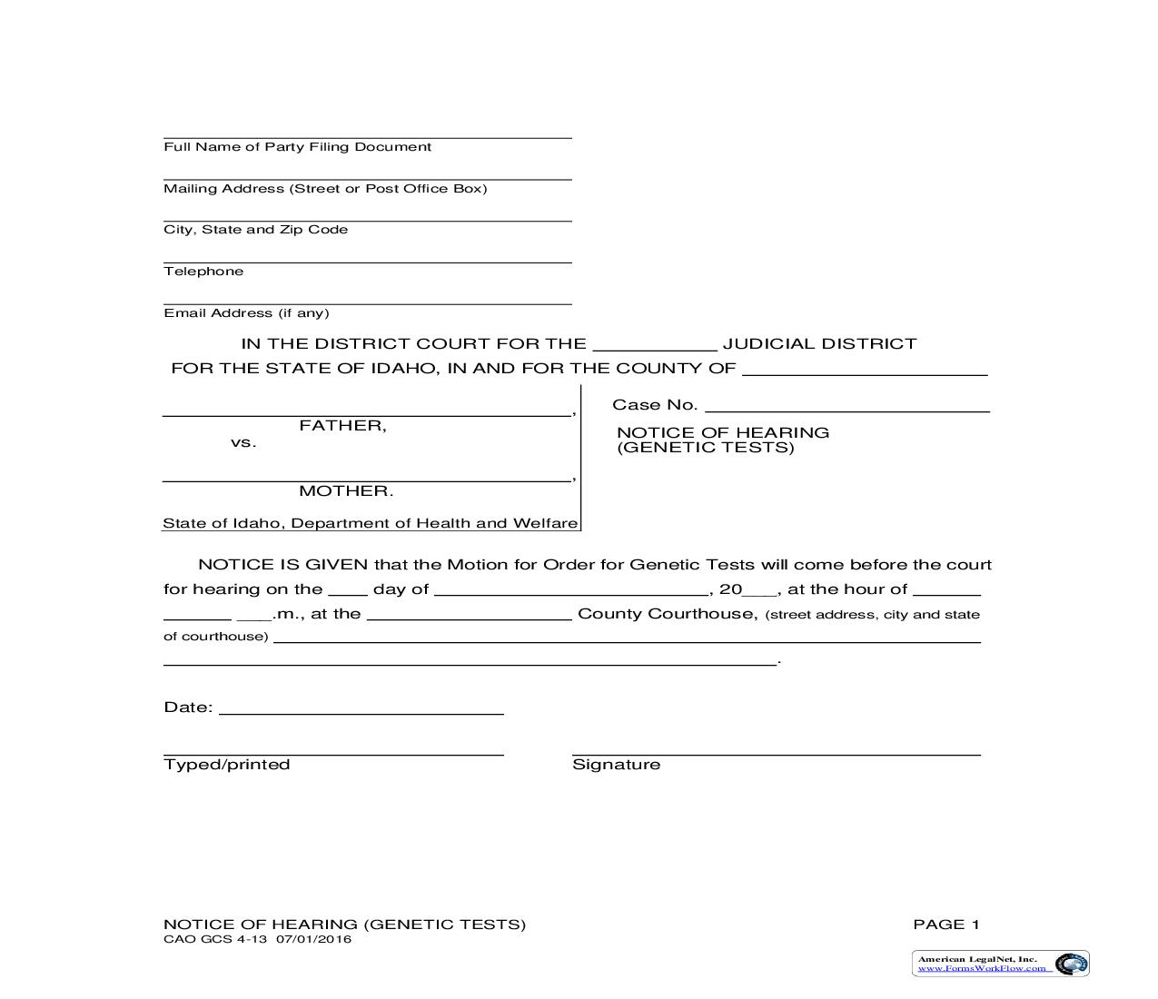 Notice Of Hearing (Genetic Tests) {CAO GCS 4-13} | Pdf Fpdf Doc Docx | Idaho