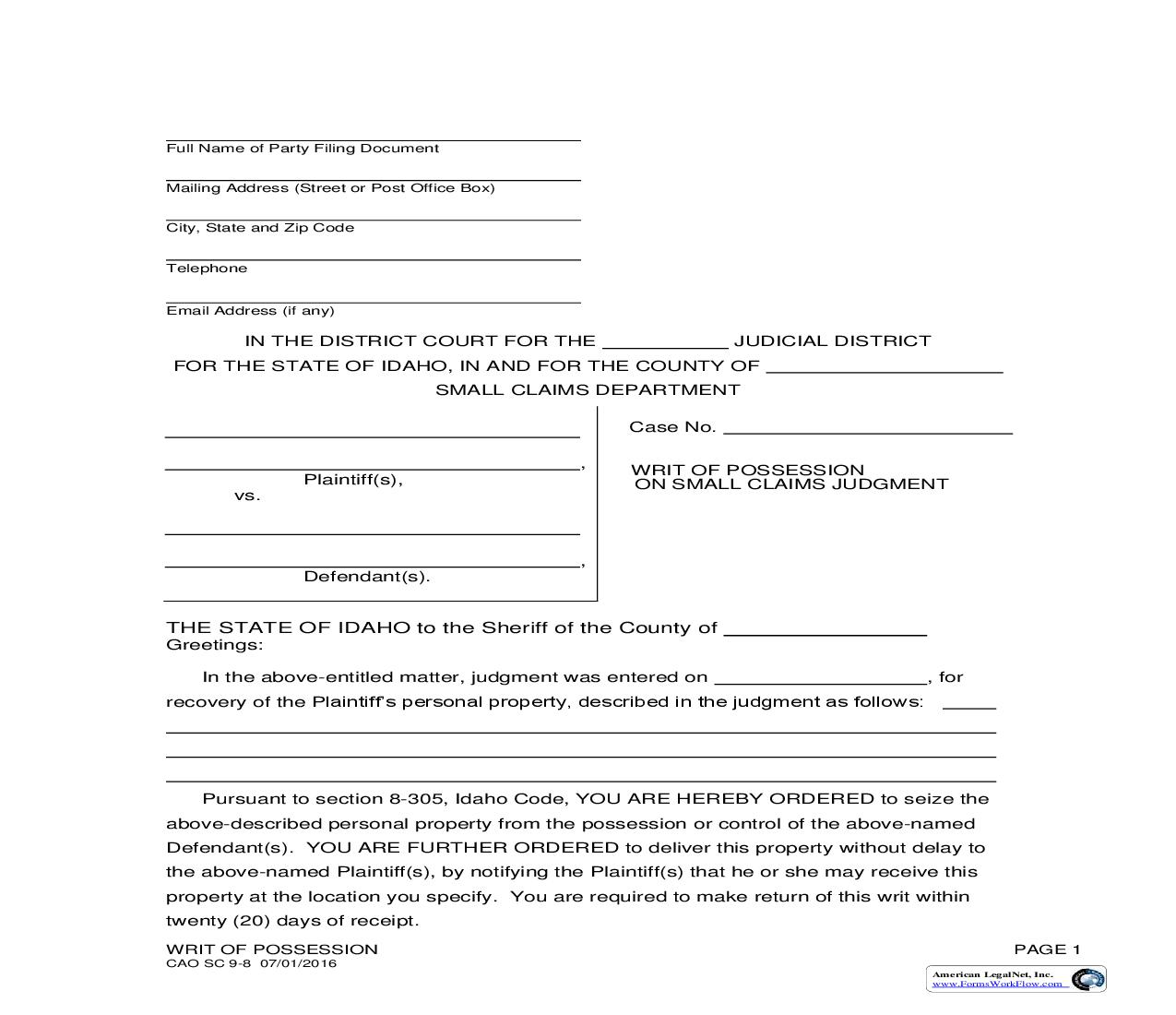 Writ Of Possession On Small Claims Judgment {CAO SC 9-8} | Pdf Fpdf Doc Docx | Idaho