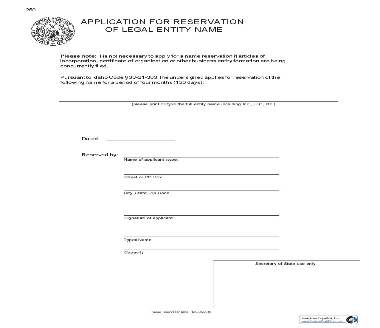 Application For Reservation Of Legal Entity Name {250} | Pdf Fpdf Doc Docx | Idaho