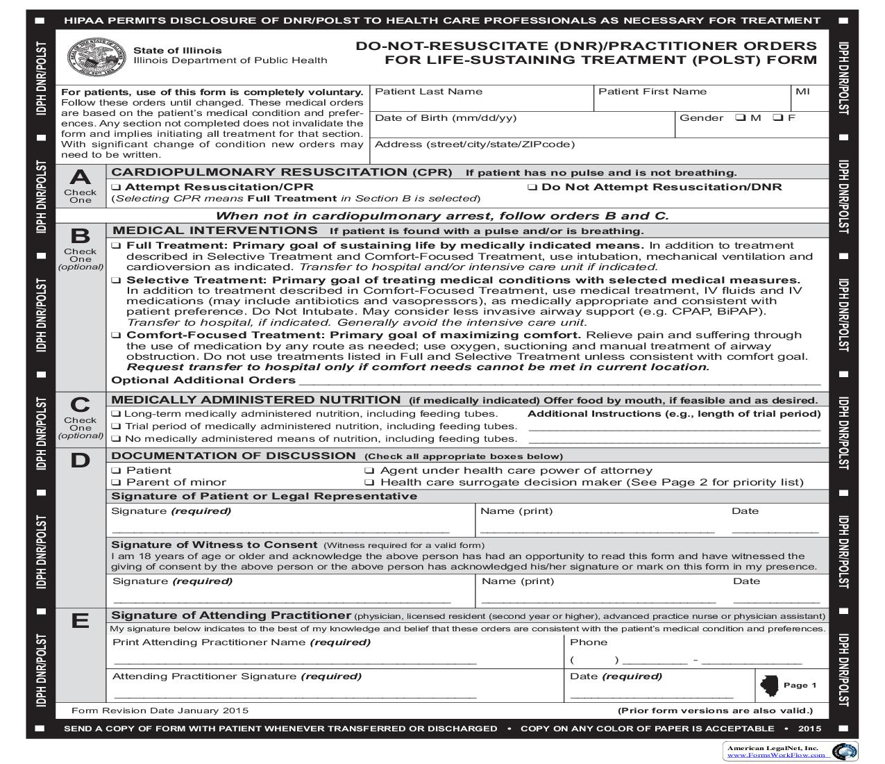 Do Not Resuscitate (DNR)   Practitioner Orders For Life Sustaining  Treatment (POLST) Form | Pdf Fpdf Doc Docx ...