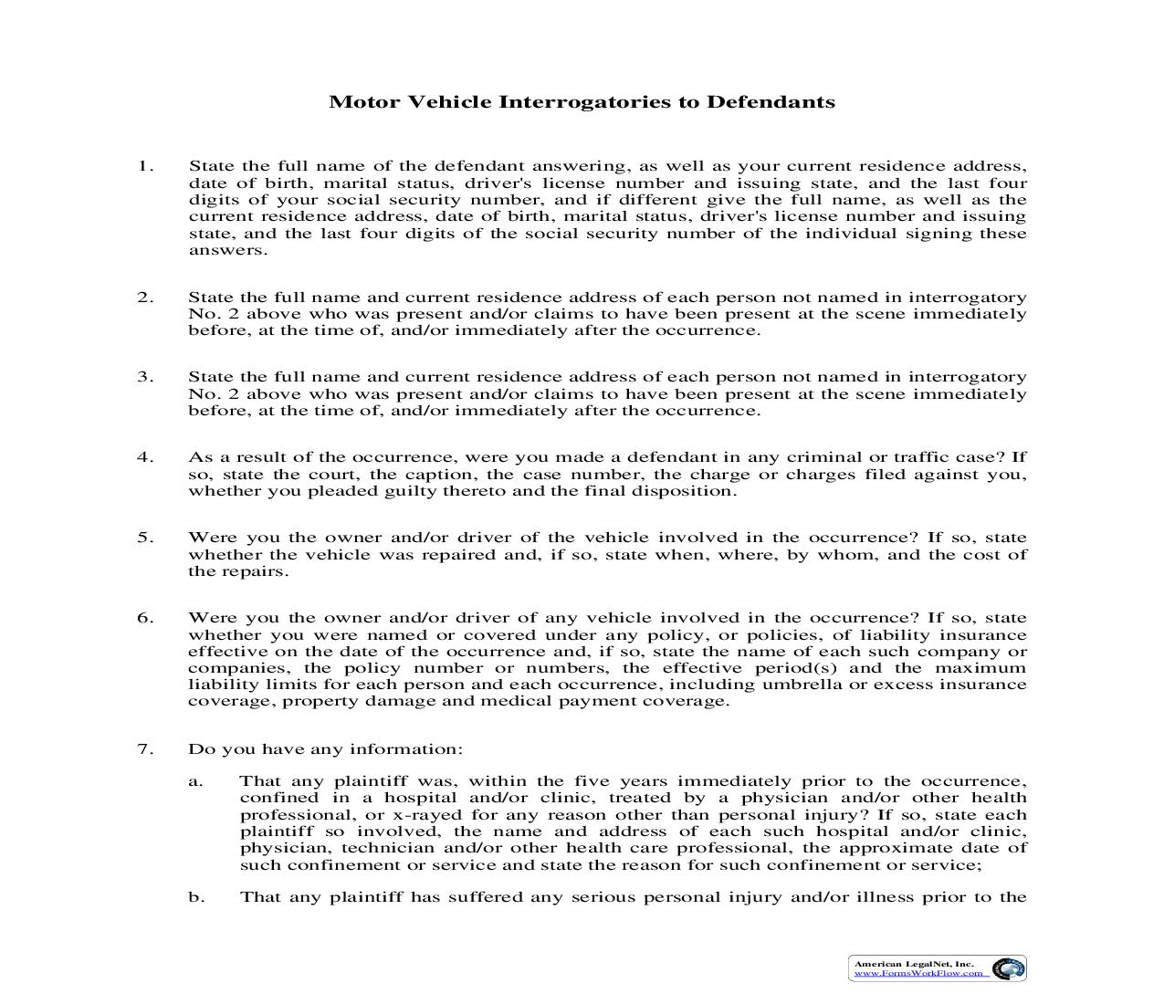 Motor Vehicle Interrogatories To Defendants | Pdf Fpdf Doc Docx | Illinois