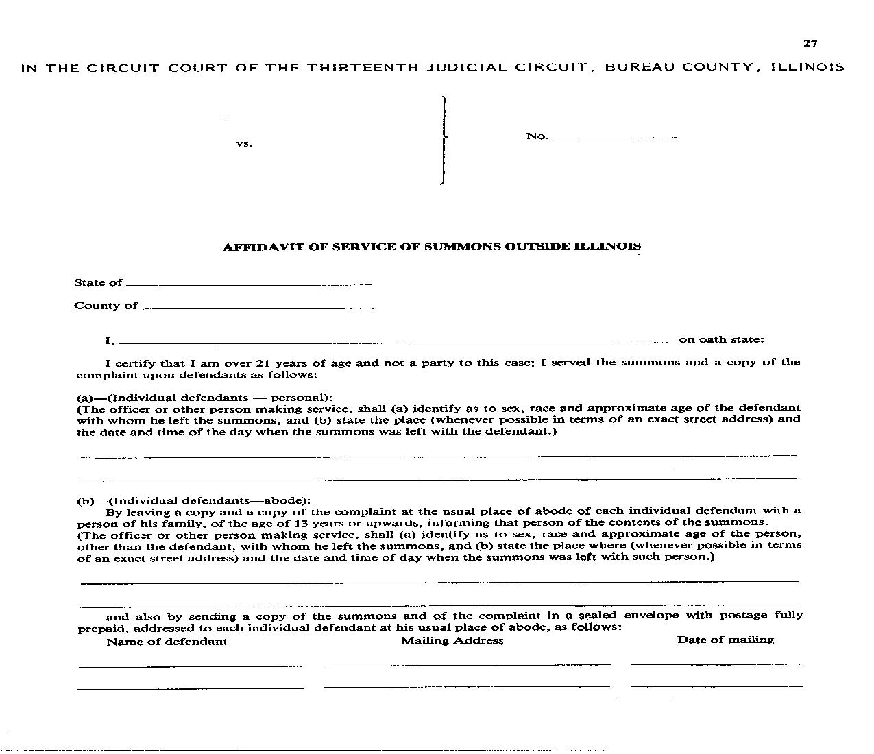 Affidavit Of Service Of Summons Outside Illinois {27} | Pdf Fpdf Doc Docx | Illinois