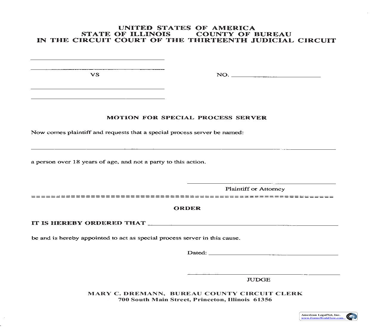 Motion For Special Process Server | Pdf Fpdf Doc Docx | Illinois