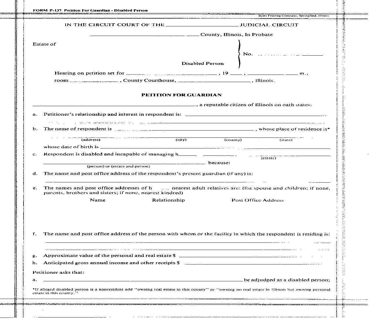 Petition For Guardian (Disabled Person) {P-137} | Pdf Fpdf Doc Docx | Illinois