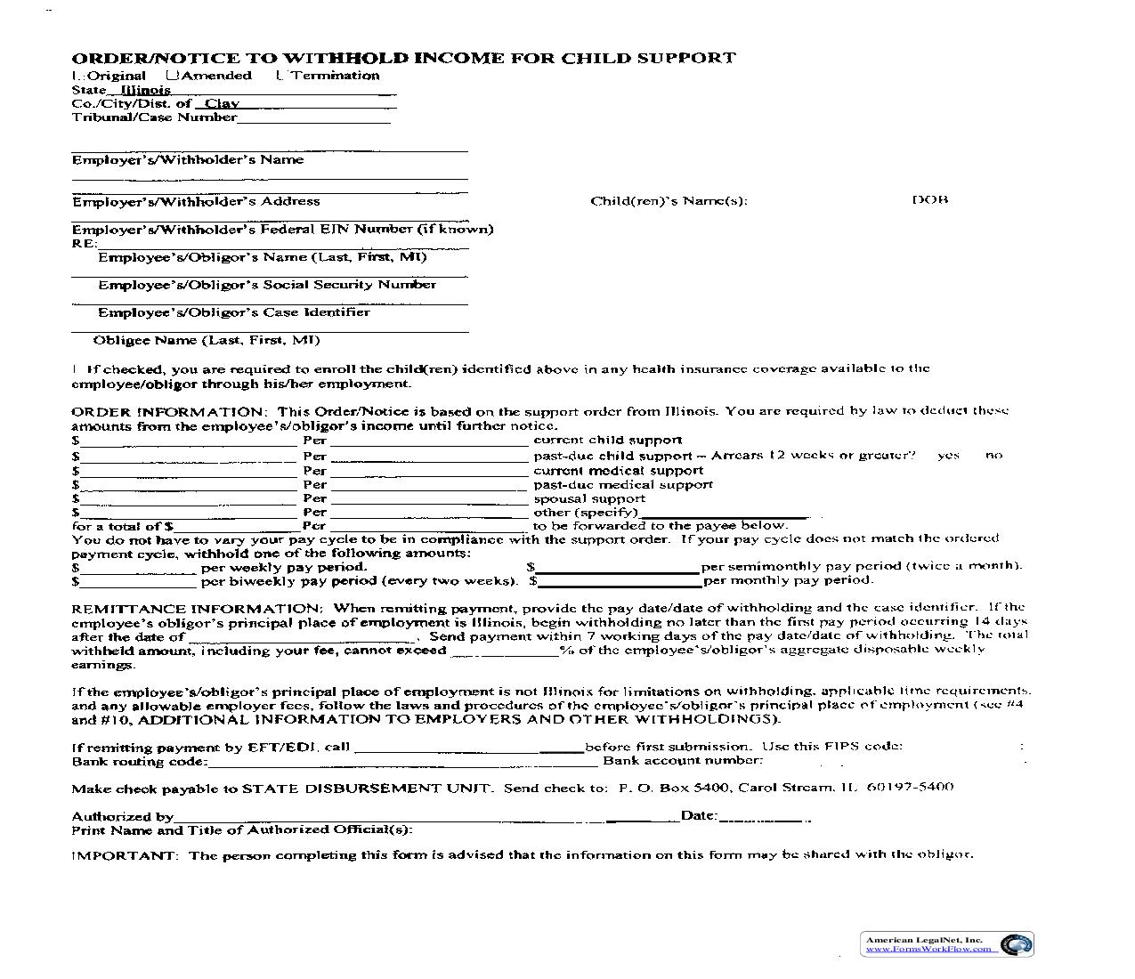 Order Notice To Withhold Income For Child Support | Pdf Fpdf Doc Docx | Illinois