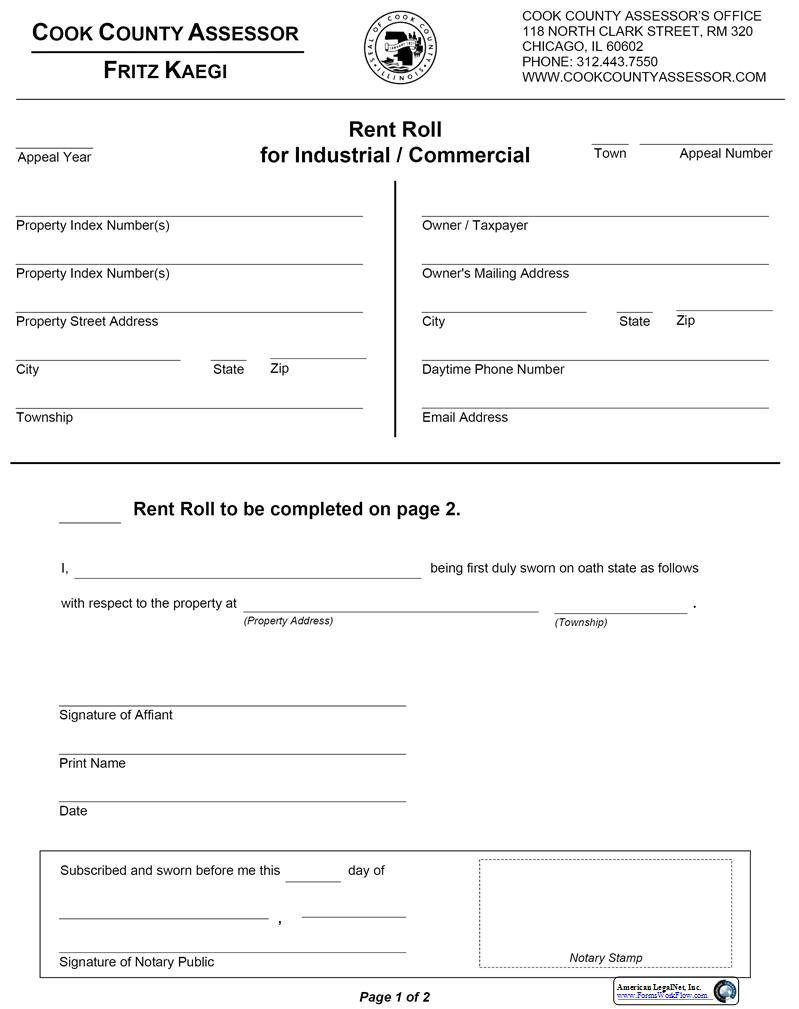 Rent Roll For Industrial Commercial   Pdf Fpdf Doc Docx   Illinois