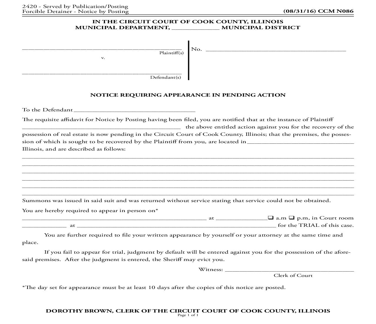 Notice Requiring Appearance In Pending Action {CCM N086} | Pdf Fpdf Doc Docx | Illinois