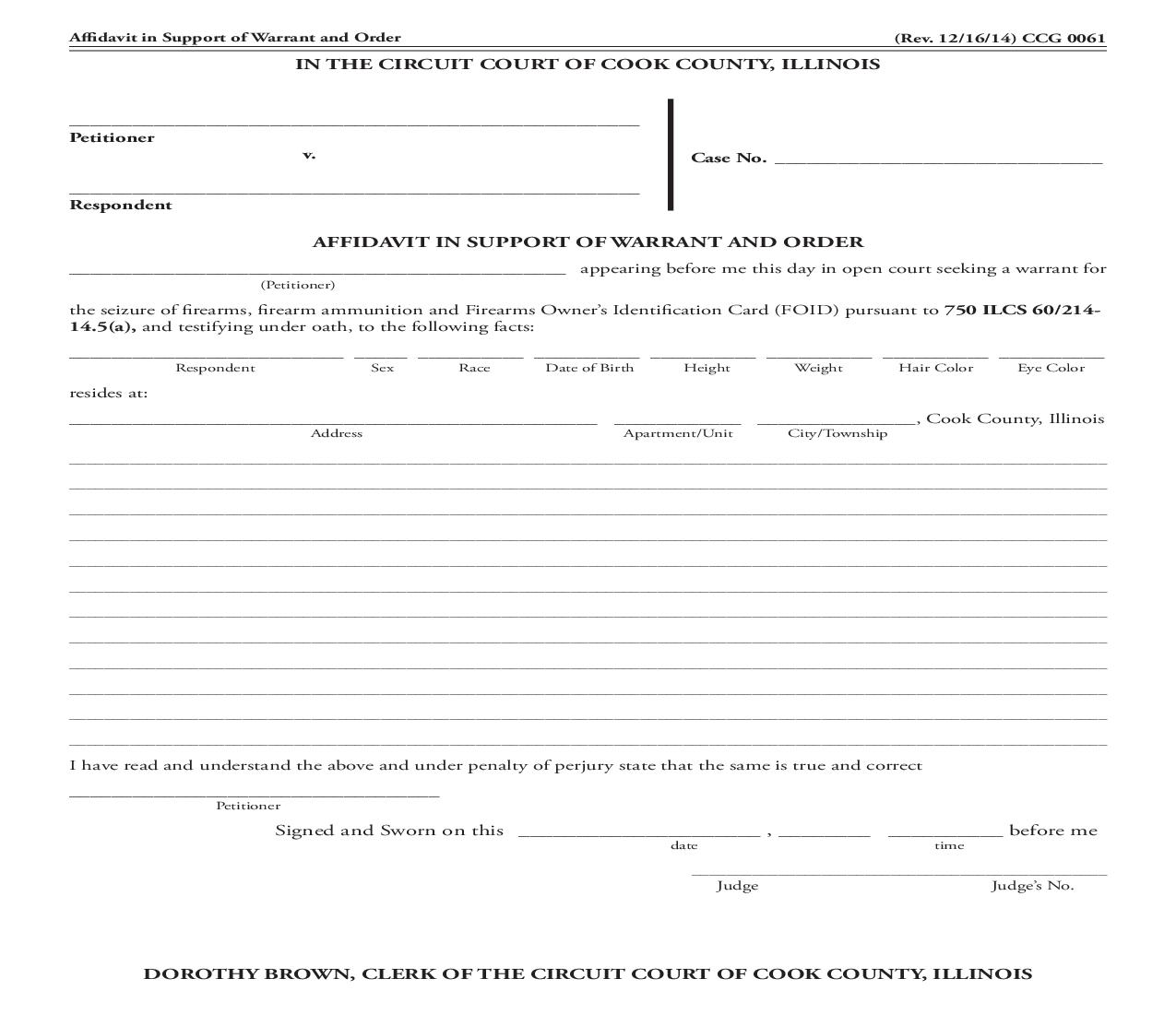 Affidavit In Support Of Warrant And Order (Firearms) {CCG N061}   Pdf Fpdf Doc Docx   Illinois