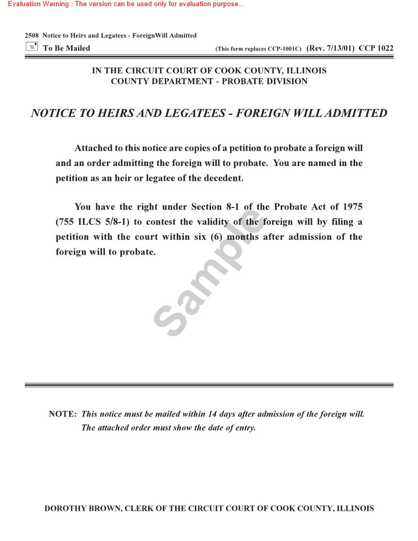 Notice To Heirs And Legatees - Foreign Will Admitted {CCP-1022} | Pdf Doc Docx | Illinois