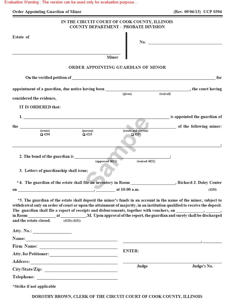 Order Appointing Guardian Of Minor {CCP 0394} | Pdf Fpdf Doc Docx | Illinois