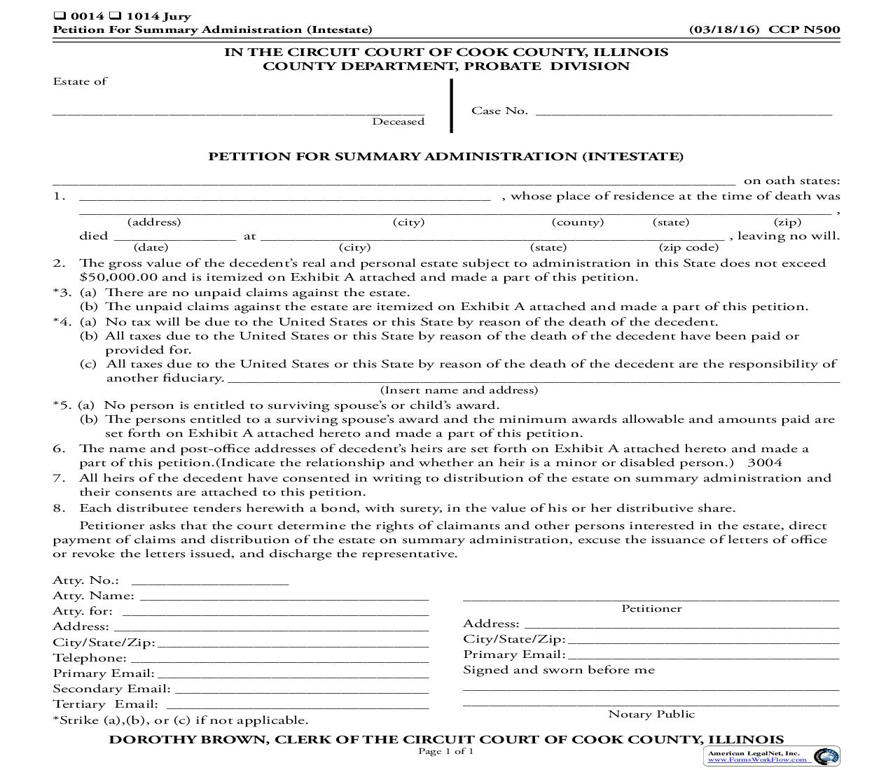 Petition For Summary Administration (Intestate) {CCP N500}   Pdf Fpdf Doc Docx   Illinois