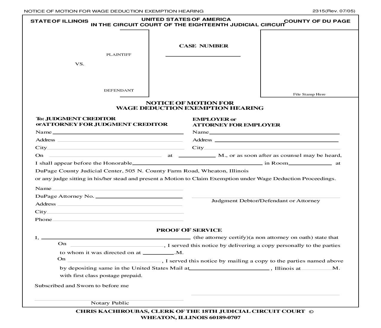 Notice Of Motion For Wage Deduction Exemption Hearing {2315} | Pdf Fpdf Doc Docx | Illinois