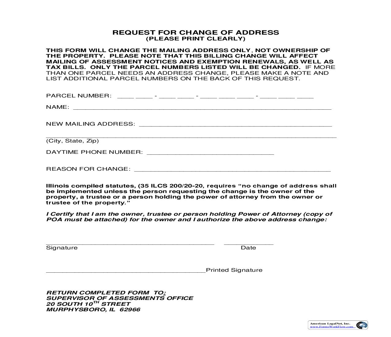 Request For Change Of Address | Pdf Fpdf Doc Docx | Illinois
