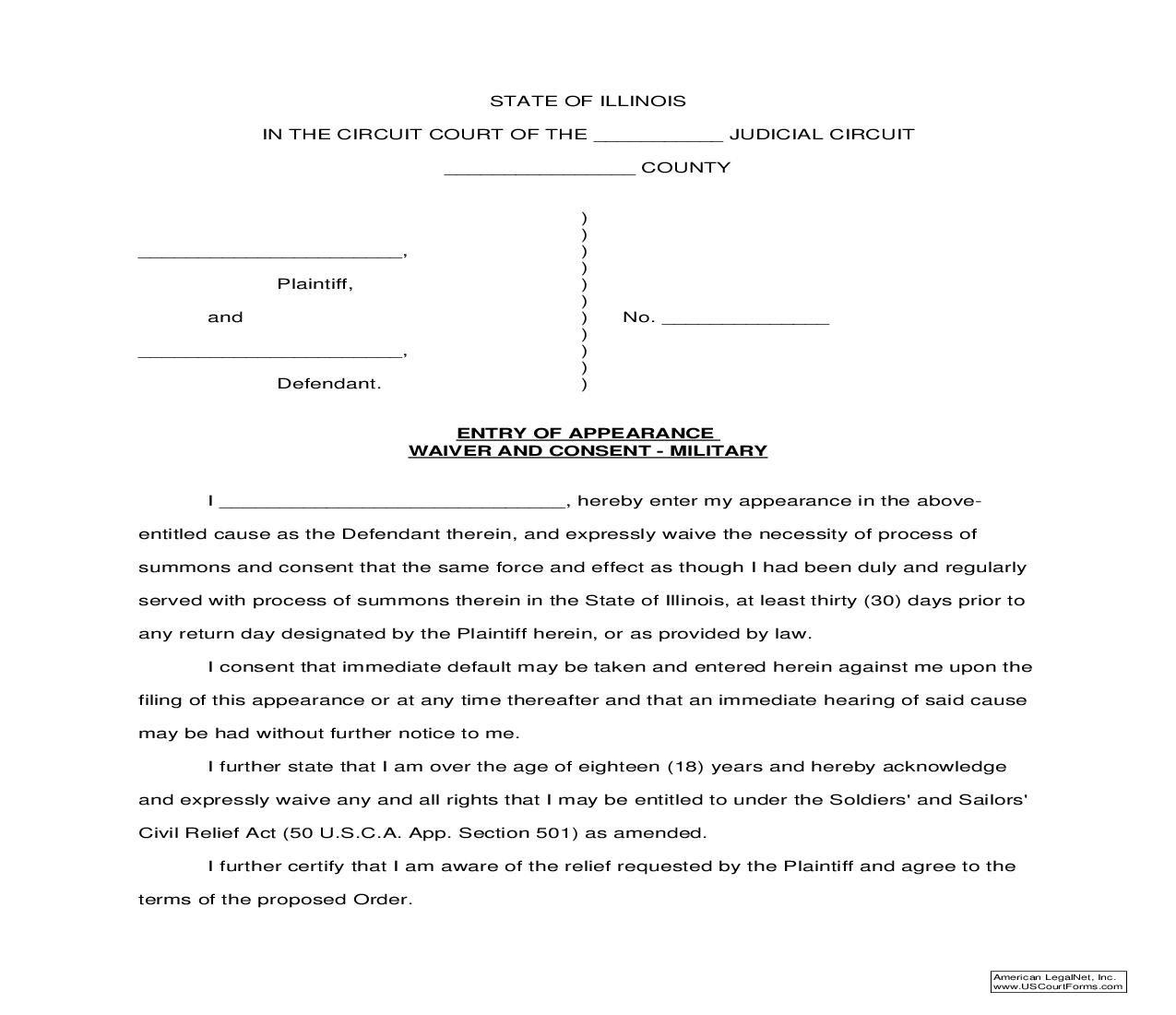 Entry Of Appearance Waiver And Consent-Military | Pdf Fpdf Doc Docx | Illinois