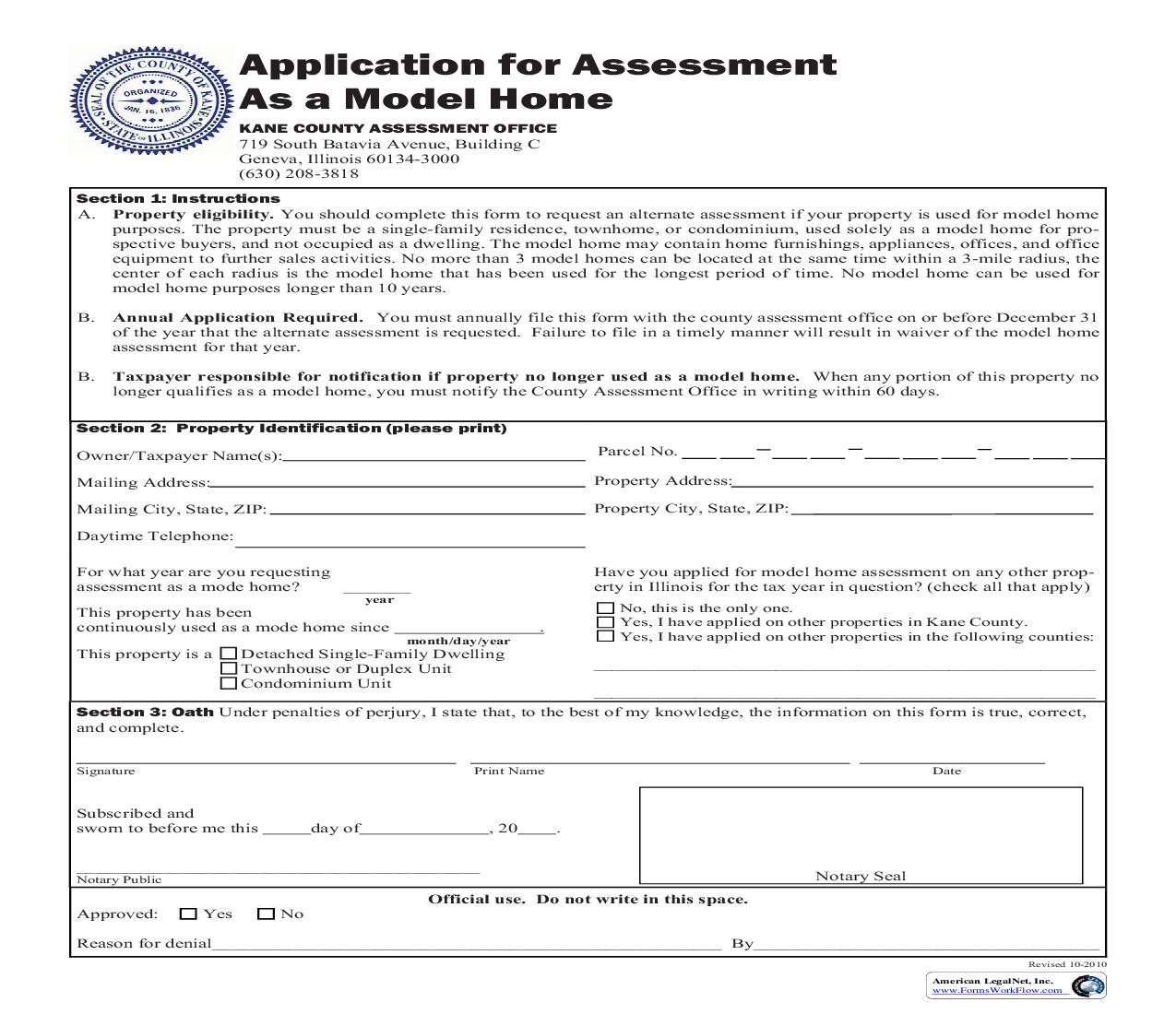 Application For Assessment As Model Home   Pdf Fpdf Doc Docx   Illinois