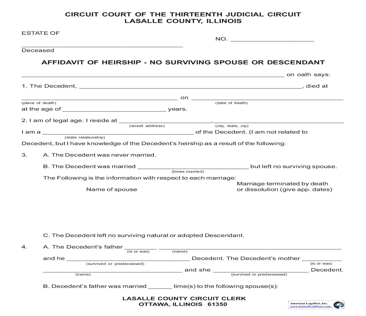 Affidavit Of Heirship - No Surviving Spouse Or Descendant | Pdf Fpdf Doc Docx | Illinois