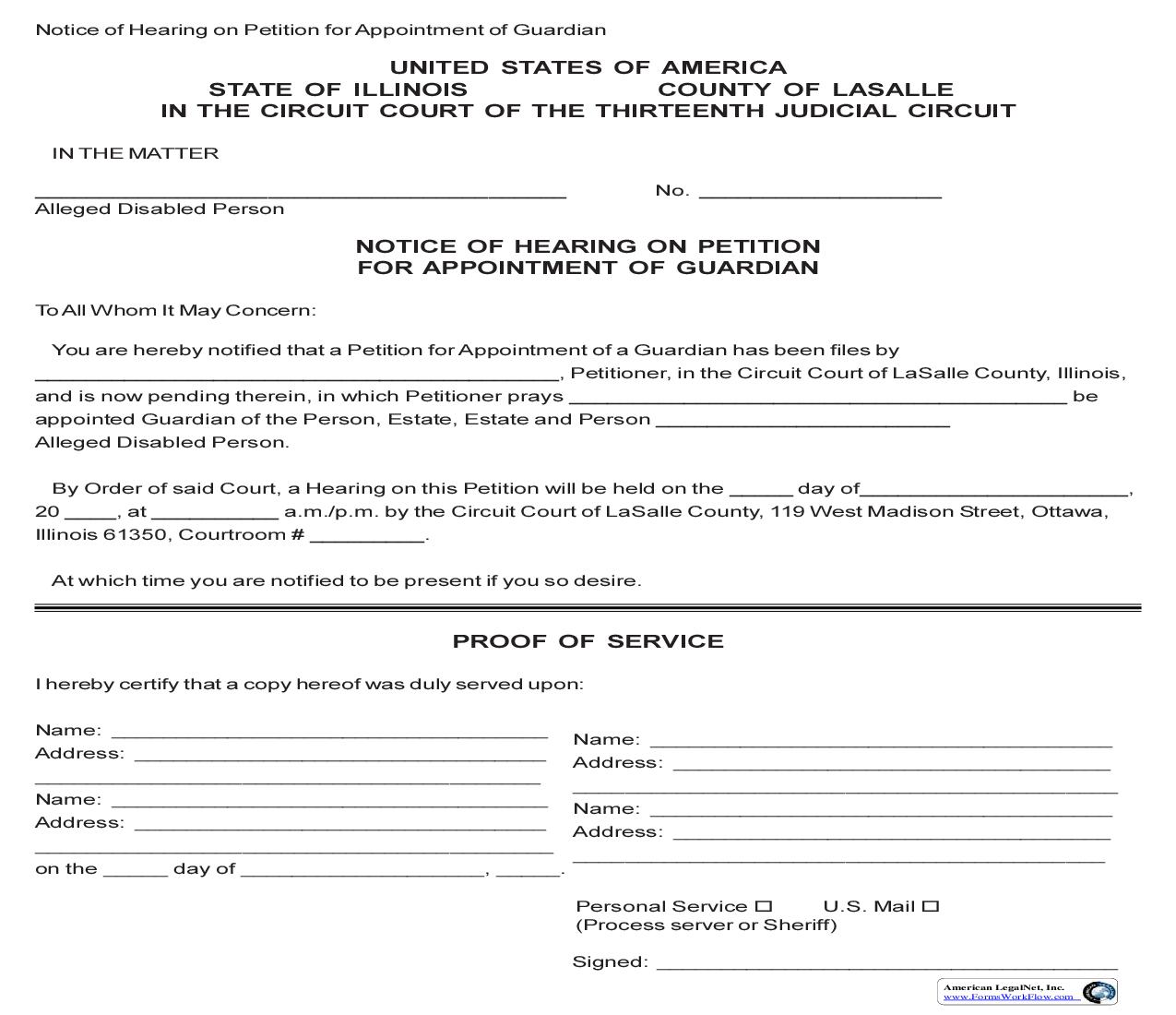 Notice Of Hearing On Petition For Appointment Of Guardian | Pdf Fpdf Doc Docx | Illinois