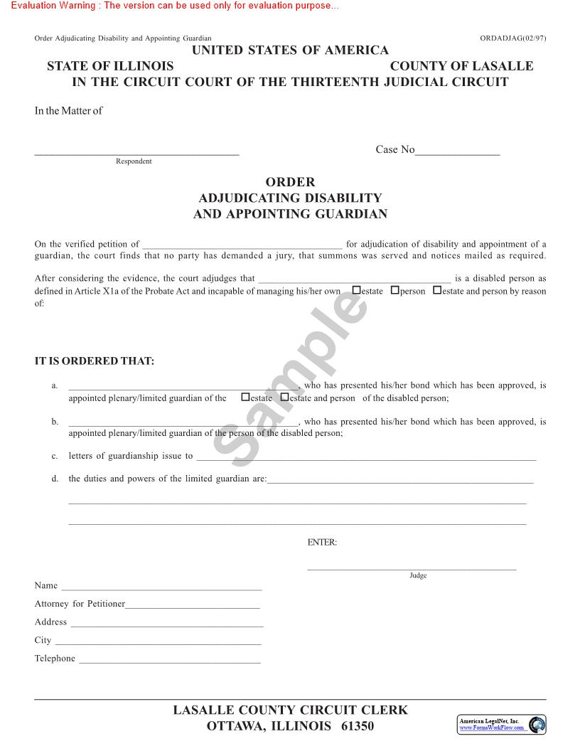 Order Adjudicating Disability And Appointing Guardian | Pdf Fpdf Doc Docx | Illinois