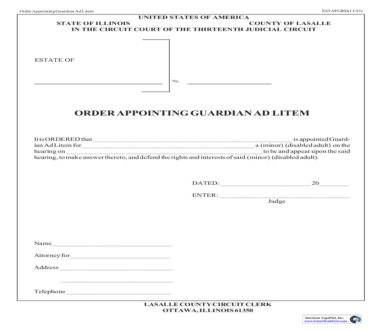 Order Appointing Guardian Ad Litem | Pdf Fpdf Doc Docx | Illinois